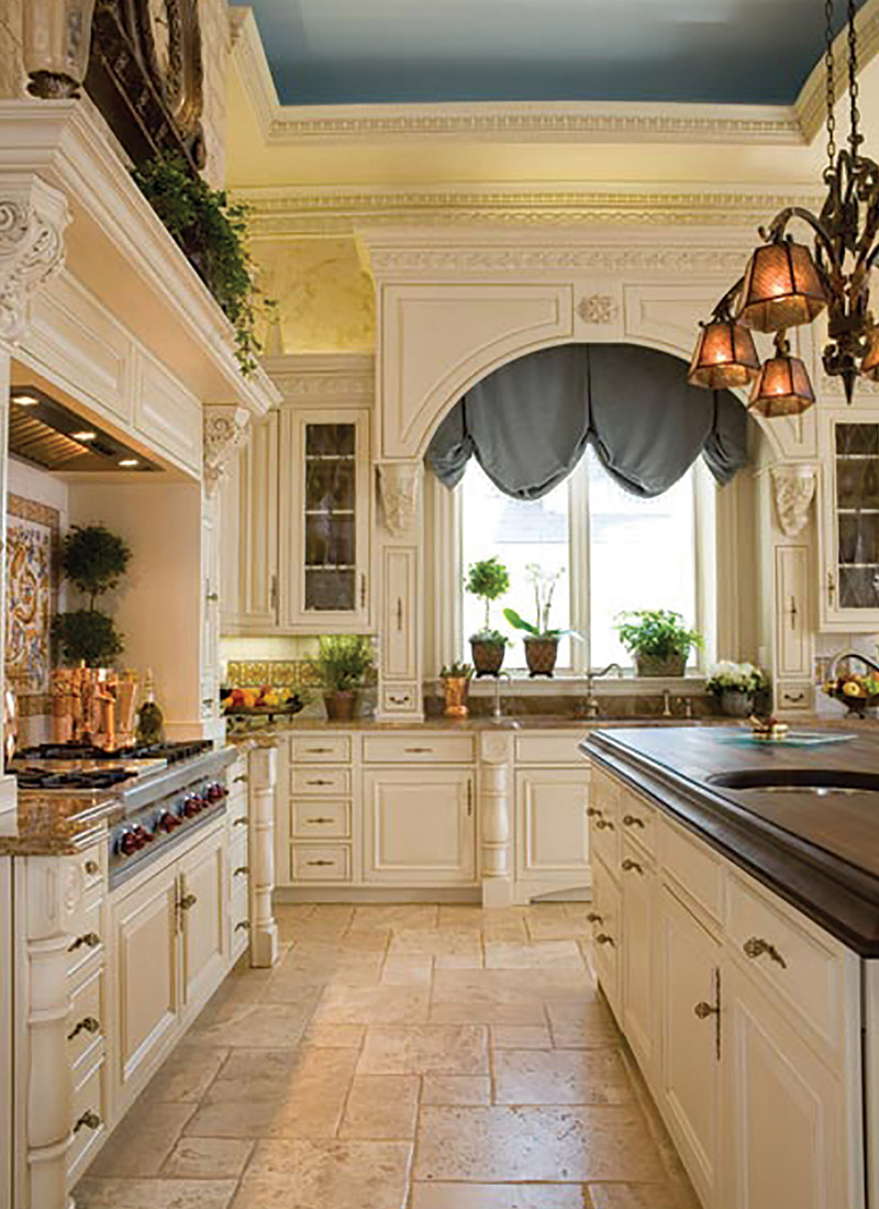 Open traditional kitchen with island